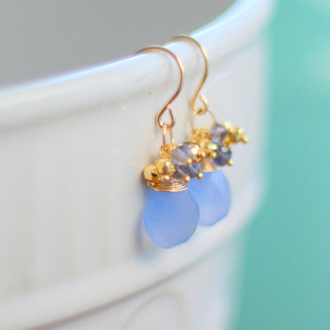 """Mia"" Periwinkle Cluster Earrings"