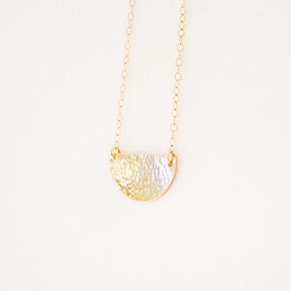 """Gabrielle"" Hammered Half-Moon Necklace"