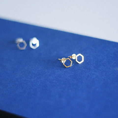 """Chloe"" Hexagon Stud Earrings"