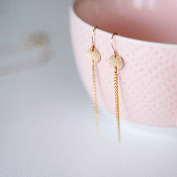 """Brie"" Gold Disc & Rolo Chain Drop Earrings"
