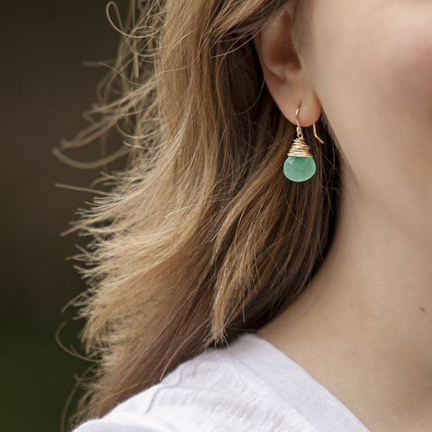 """Jeannine"" Aqua Jade Earrings"