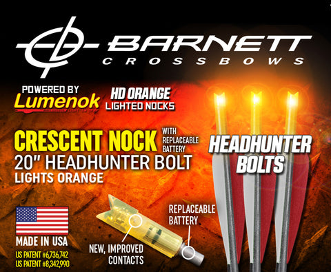 Lumenok Equipped Genuine Barnett Headhunter Bolts - 20""