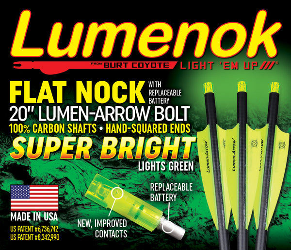 "100% Carbon Lumen-Arrow Bolts - 20"" Flat- 3 Pack"