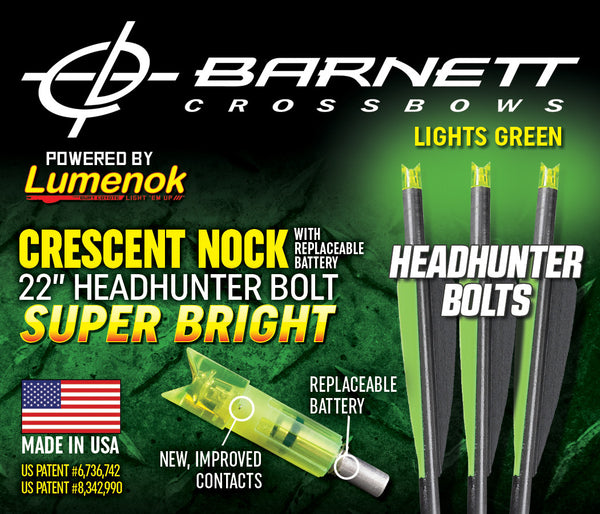 Lumenok Equipped Genuine Barnett Headhunter Bolts - 22""