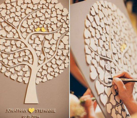 DIY Wedding guest book tree
