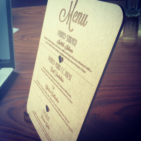 Laser engraved wooden menu