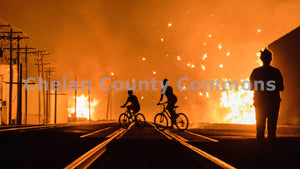 Wenatchee Warehouse Fire Bikers , JPG Image Download - Rob Spradlin, Chelan County Commons