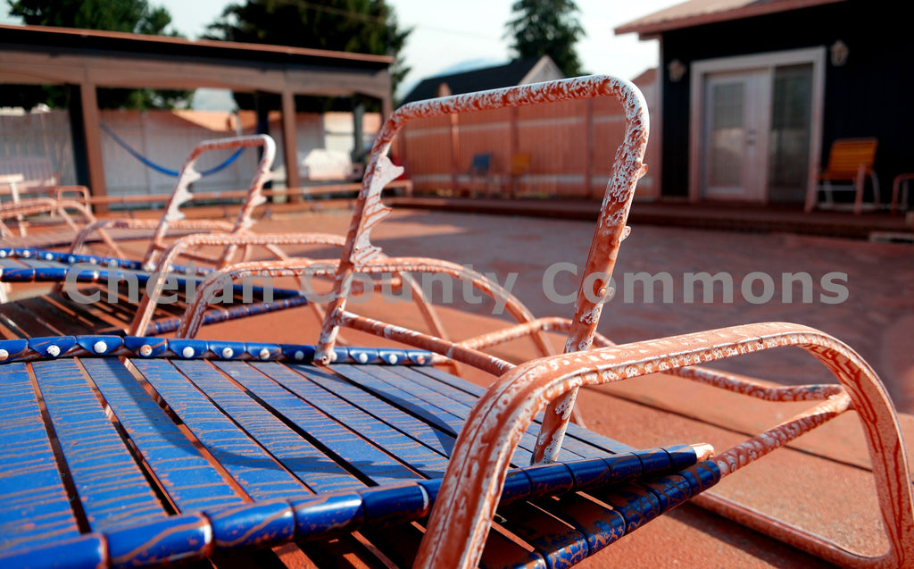 Beach Chair Covered in Fire Retardant , JPG Image Download - Jared Eygabroad, Chelan County Commons