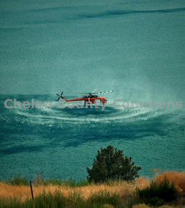 Closeup of Fire Helicopter Water Pickup , JPG Image Download - Jared Eygabroad, Chelan County Commons
