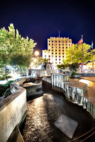 Fountain at night at Performing Art Center Wenatchee