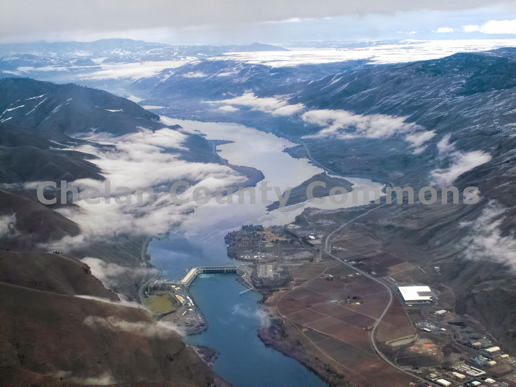 Rocky Reach Dam from above , JPG Image Download - Stephen Hufman, Chelan County Commons