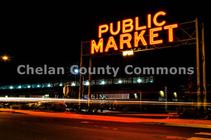 Pybus Public Market Night Sign , JPG Image Download - Brian Mitchell, Chelan County Commons