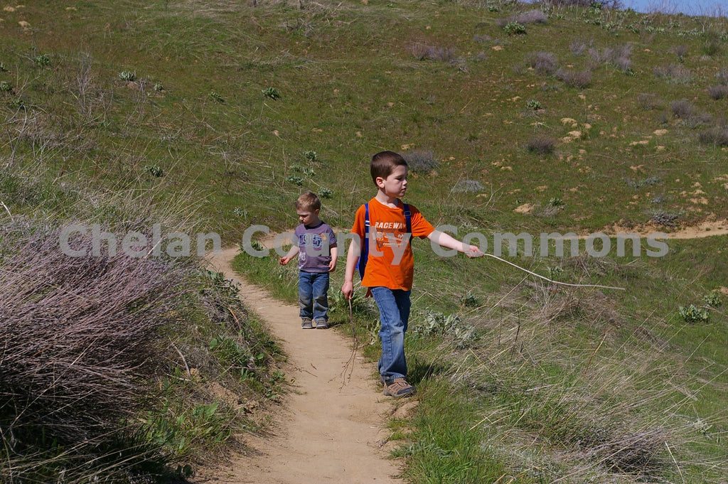 Boys Walking Sage Hills , JPG Image Download - Steve Scott, Chelan County Commons