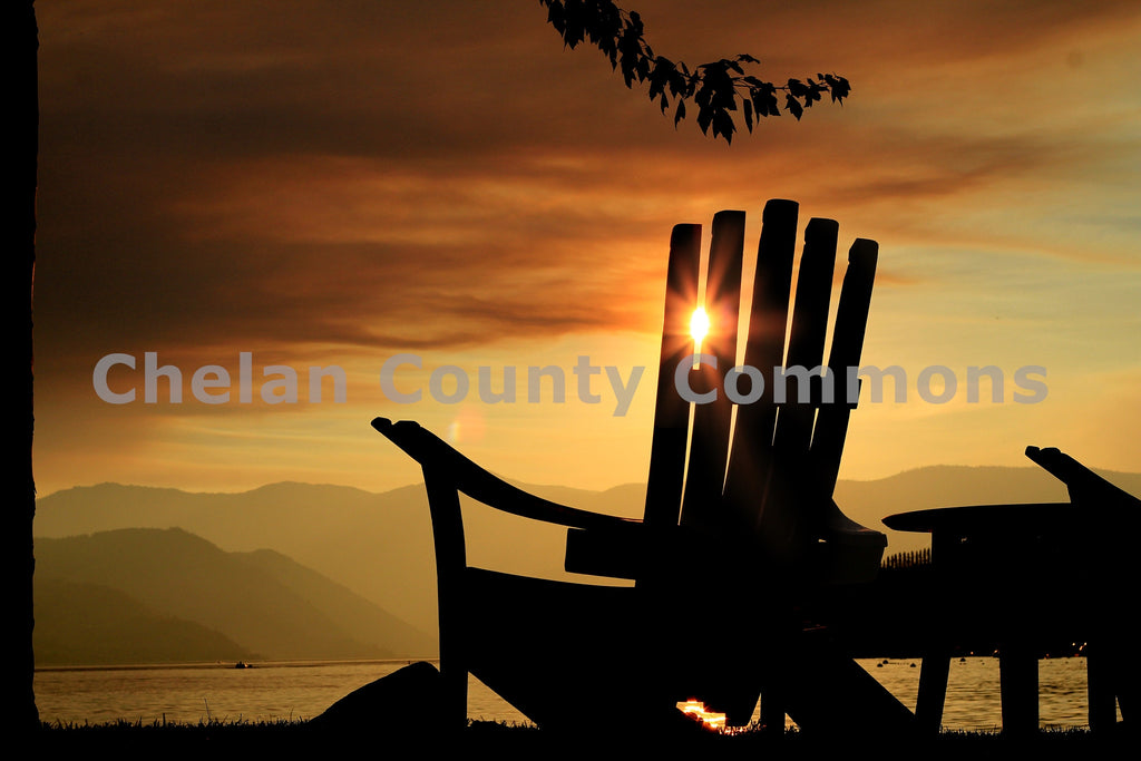 Chair & Chelan Sunset , JPG Image Download - Jared Eygabroad, Chelan County Commons