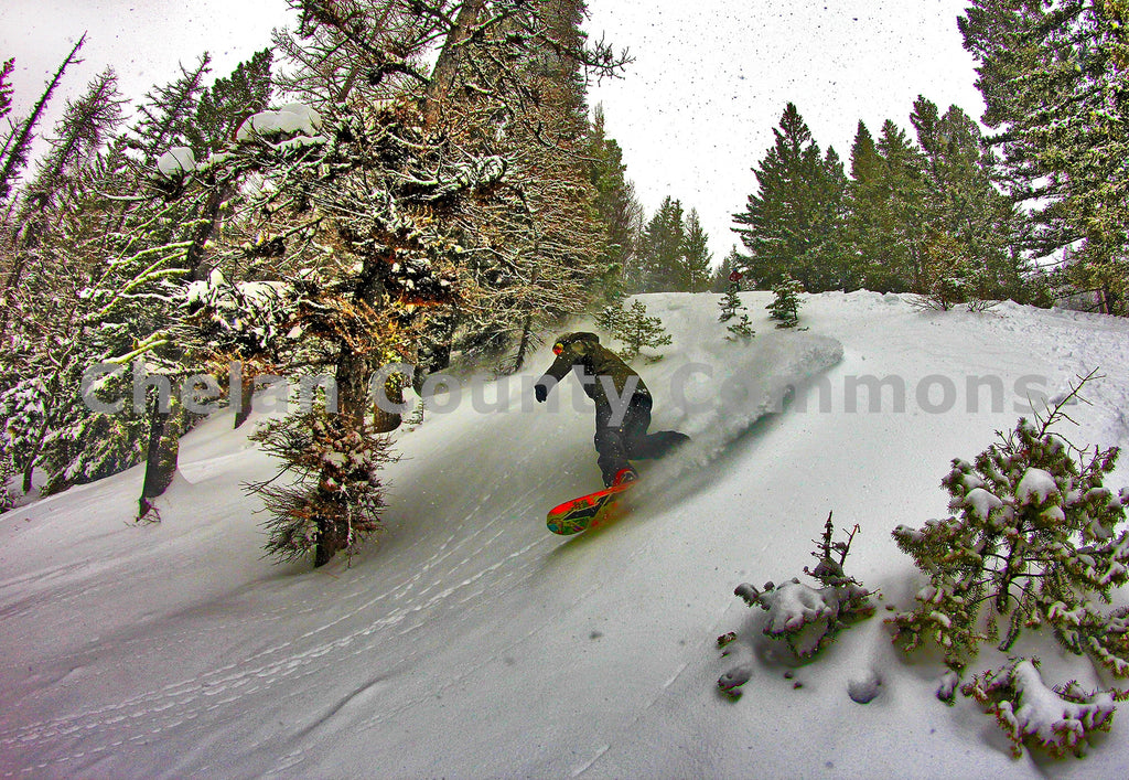 Snowboarder Pow Turn Cool FX , JPG Image Download - Jared Eygabroad, Chelan County Commons