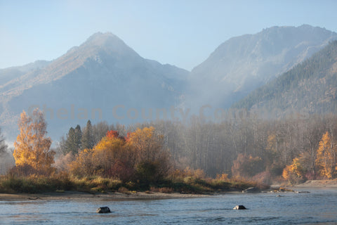 Fall Misty River & Mountains