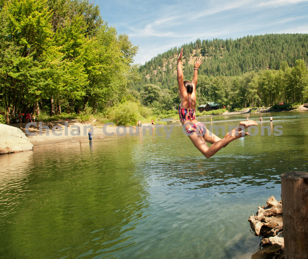 Girl Leaps In Wenatchee River , JPG Image Download - Heidi Swoboda, Chelan County Commons