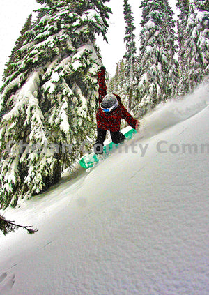 Snowboard Girl Pro Pow Turn , JPG Image Download - Jared Eygabroad, Chelan County Commons