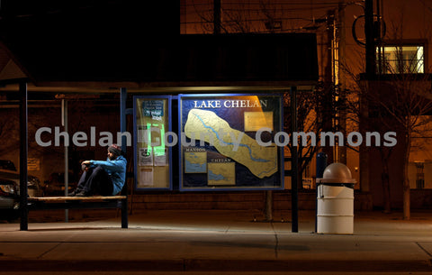 Chelan Bus Stop at Night