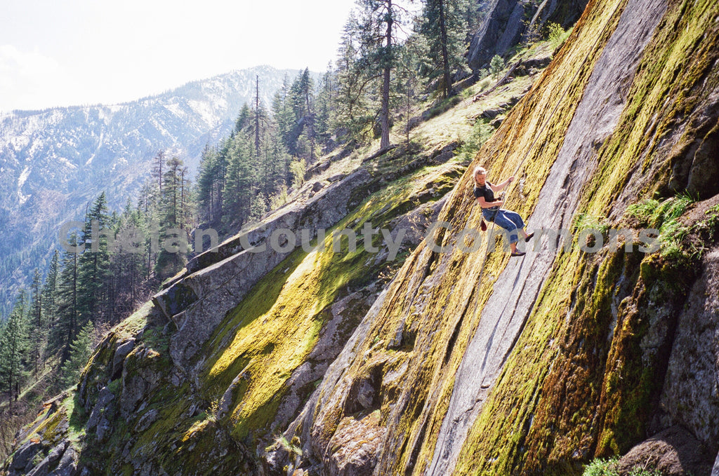 Rappelling A Mossy Cliff , JPG Image Download - Heidi Swoboda, Chelan County Commons