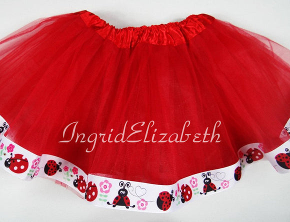 Red tutu with Ladybug Ribbon  / FAST SHIPPING / Child Costume, Birthday Tutus, Adult Costume