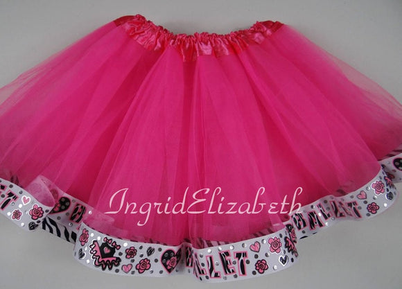 Hot Pink tutu with BALLET Ribbon  / FAST SHIPPING / Child Costume, Birthday Tutus, Adult Costume