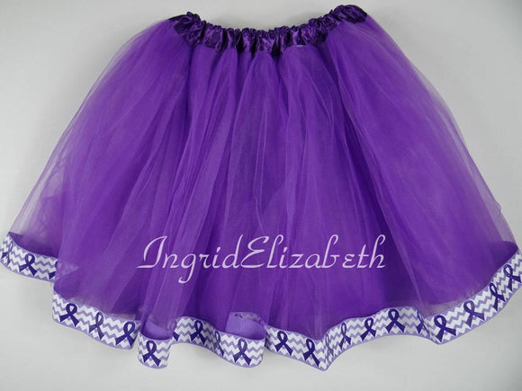 Purple tutu with Cancer Ribbon / FAST SHIPPING / Child Costume, Birthday Tutus, Adult Costume
