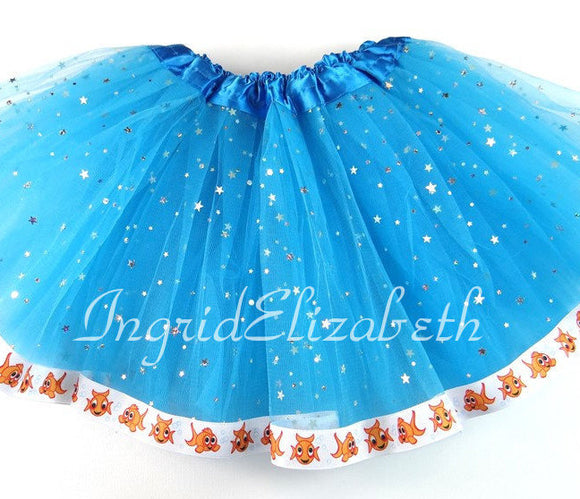 Blue Sparkle Girls Tutu with Goldfish Ribbon / FAST SHIPPING / Child Costume, Birthday Tutus, Adult Costume