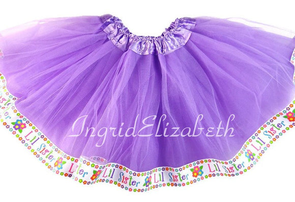 Lavender tutu with Lil Sister Ribbon / FAST SHIPPING / Child Costume, Birthday Tutus, Adult Costume