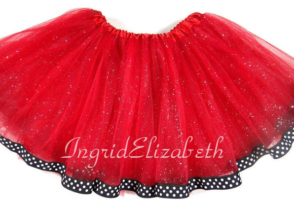 Red tutu with Black Polka Dot Ribbon / FAST SHIPPING / Child Costume, Birthday Tutus, Adult Costume