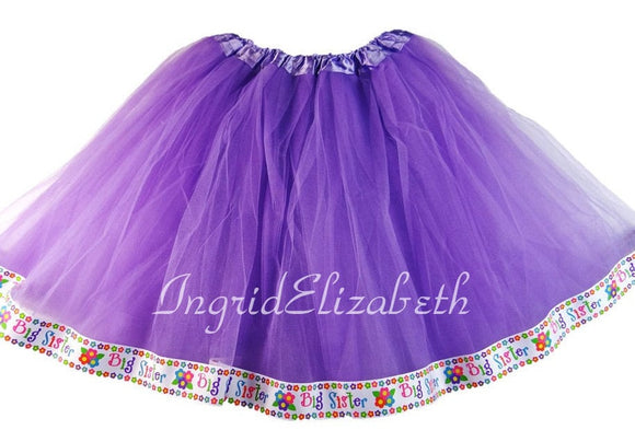 Lavender tutu with Big Sister Ribbon / FAST SHIPPING / Child Costume, Birthday Tutus, Adult Costume