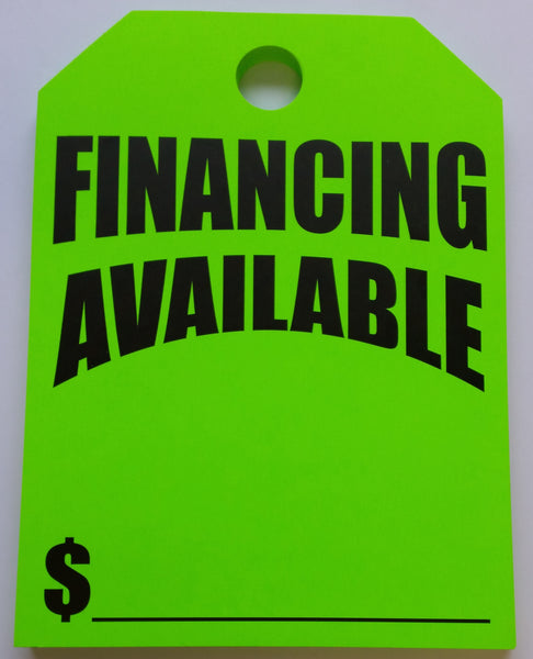 """Financing Available"" Car Hang Tags - Northland's Dealer Supply Store"