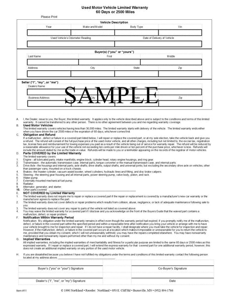 60 Day Limited Warranty Form - Northland's Dealer Supply Store