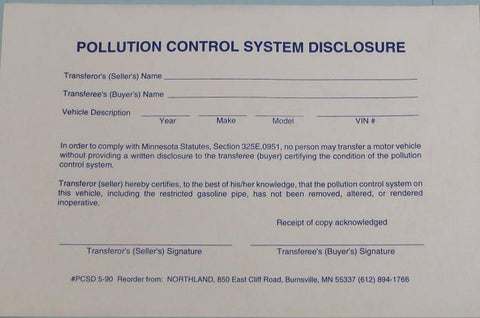 Pollution Control System Disclosure