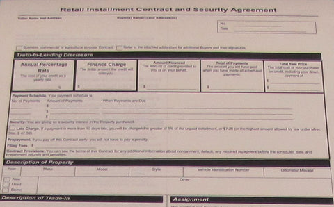 Retail Installment Contract - Qty 50