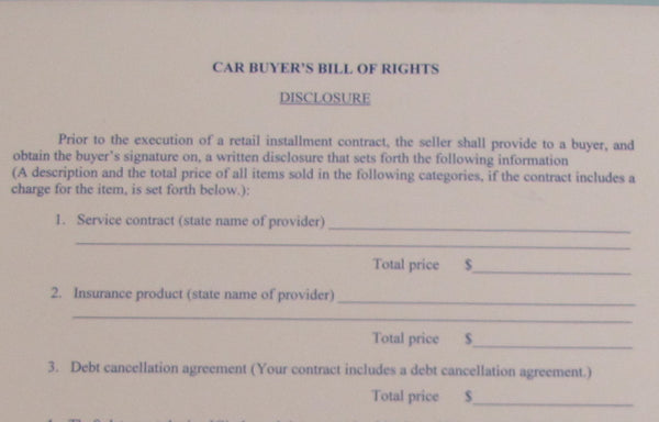 Car Buyers Bill of Rights - Northland's Dealer Supply Store