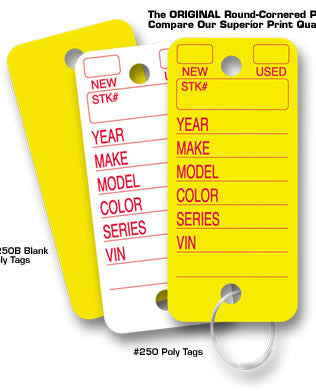 Poly Tag Key Tags - Qty 250 per pack - Northland's Dealer Supply Store