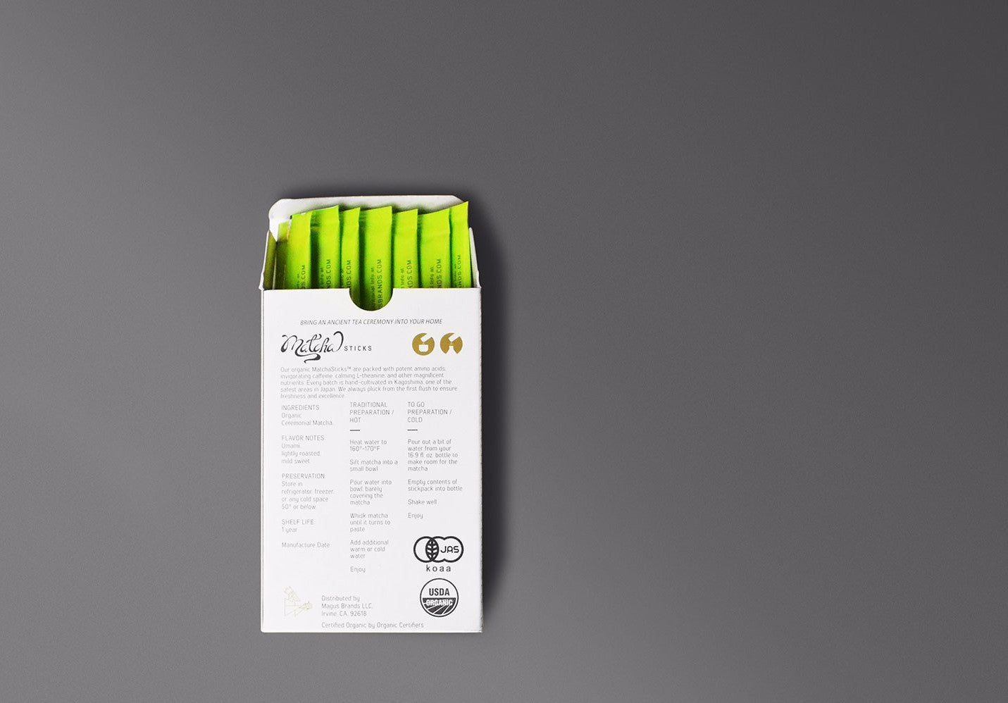 MatchaSticks™ Premium Organic Ceremonial Matcha Tea 10ct