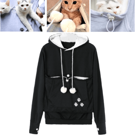 Cat Pouch Hoodie with Ears – Pet Holder Sweatshirt