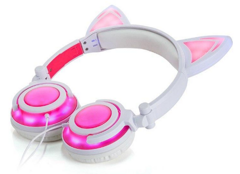 Image of Cat Ear LED Headphones – USB Rechargeable