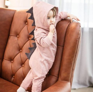 Image of Cute Hooded Dinosaur Romper