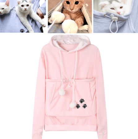 Image of Cat Pouch Hoodie with Ears – Pet Holder Sweatshirt