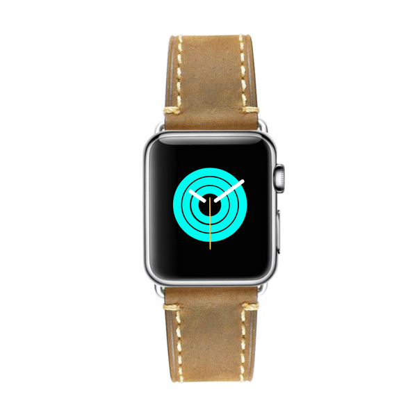 Rustic Leather Apple Watch Strap - Sand Brown