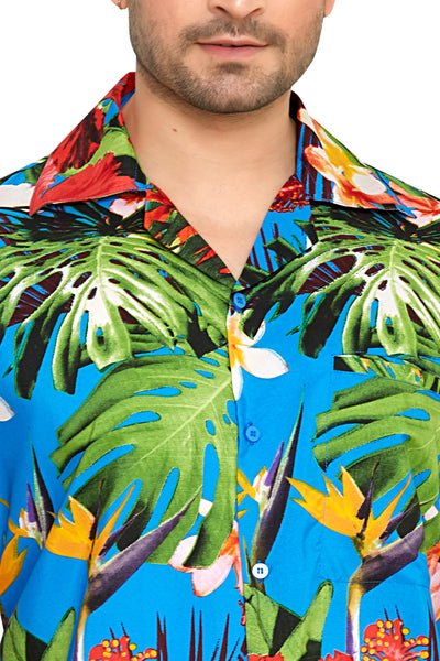 CLUB CUBANA Men's Regular Fit Classic Short Sleeve Casual Floral Hawaiian Shirt