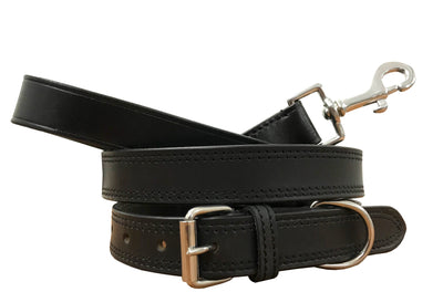 BRADLEY CROMPTON Genuine Leather Matching Pair Dog Collar and Lead Set ... 19d27ba30281