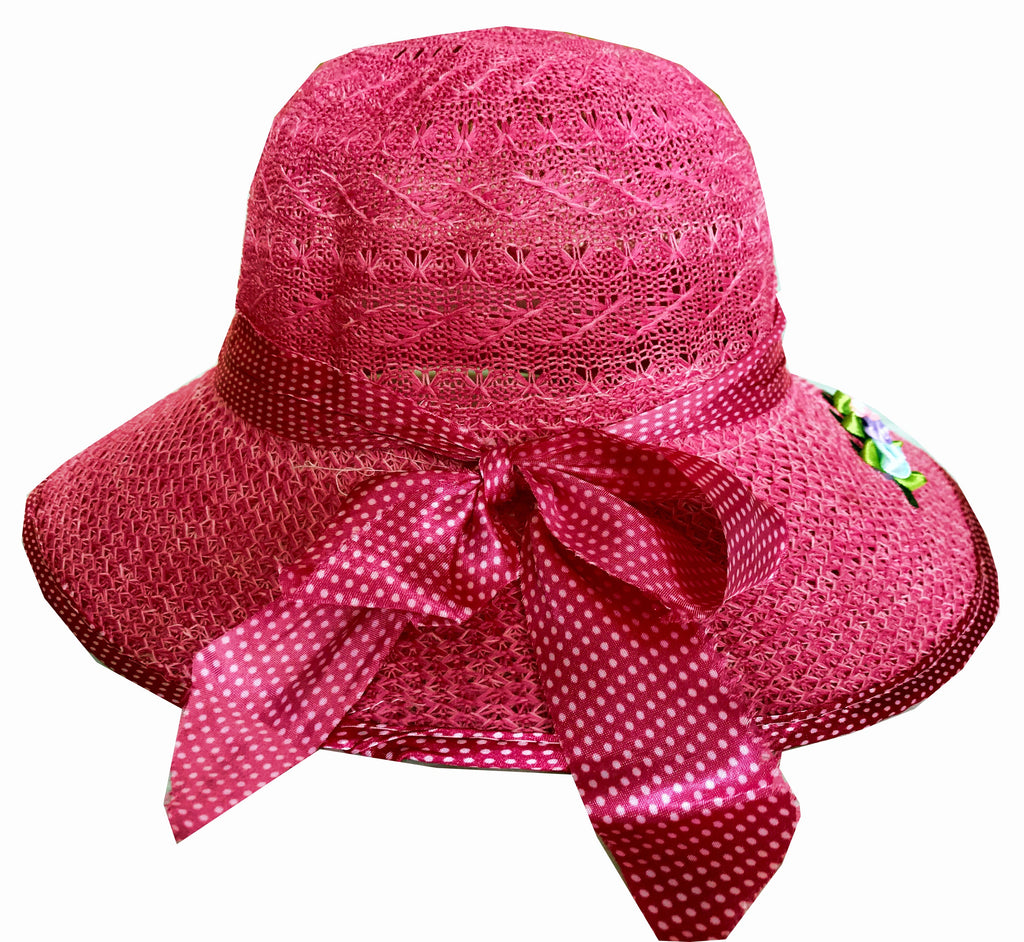 SYNC WITH STYLE Womens Ladies Floppy Foldable Summer Wedding Church Race Derby Sun Beach Straw Cap UPF 50 Foldable Wide Brim Formal Casual Adjustable Hat Pink