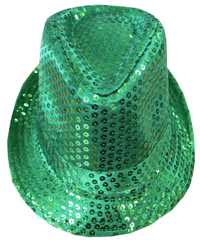 CLUB CUBANA Hawaiian Fedora Hats for Men Women Unisex Trilby Hat Panama Style Sequin Style Costume Party Cap Green