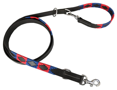 CARLOS DIAZ Genuine Leather Waxed Embroidered Multi-functional Gaucho Polo Dog Lead And Built In Collar