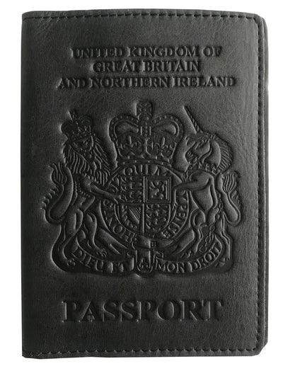 VALERIO Designer Men's Women's British United Kingdom Embossed RFID Blocking Genuine Leather Passport Cover & Boarding Pass Holder Matt Black