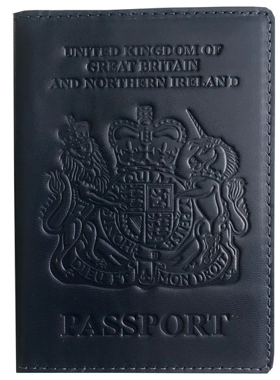 VALERIO Designer Men's Women's British United Kingdom Embossed RFID Blocking Genuine Leather Passport Cover & Boarding Pass Holder Navy Blue